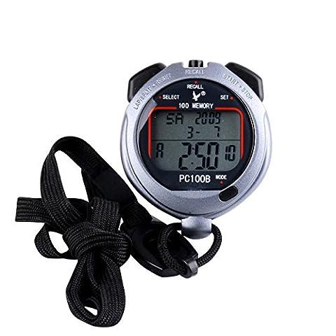 CkeyiN ® Daily Waterproof Anti-skid Sport Stopwatch 3 Rows 100