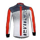 G WELL Herren Radtrikot Langarm Sportshirt Fahrradbekleidung Radsport Langarmshirt für Frühling und Herbst rot L