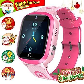 GPS Smartwatch, Reloj Impermeable para NiñOs Reloj Inteligente Rastreador de TeléFono HD Pantalla TáCtil Smartwatch SOS Linterna Digital Reloj ...