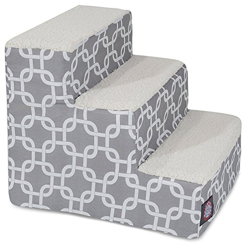 Majestic Pet 3 Step Portable Pet Stairs By Products Gray Links Steps for Cats and Dogs