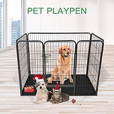 Tammible Dog Crate Single Door Folding Metal Divider Animal Panel Dog Cage, Leak-Proof Dog Tray 93 * 61 * 63 cm (L*W*H) by Tammible