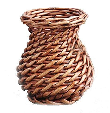 TELLW Pure handmade basket Wicker rattan vases pots home decoration decorations flower arrangement flower basket Brown Big