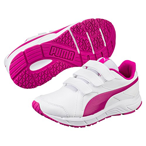 Puma Axis V4 Sl V, Baskets Basses Mixte Enfant Puma White-ULTRA MAGENTA
