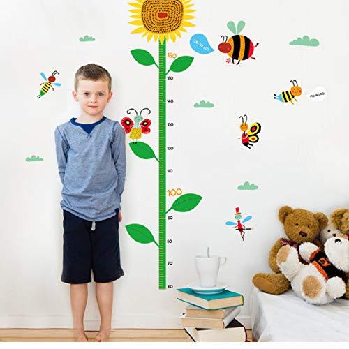 luludsoo Wandtattoo kinderzimmer Aufkleber Kinder Tieren küchen wanddeko Sunflower Bee Kind Höhe DIY Vinyl Wandaufkleber Für Kunst Wohnkultur 3D Poster Tapete