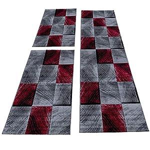 HomebyHome Moderner Kariert Design Konturschnitt Teppich 3TLG Bettumrandung Läufer Set Schlafzimmer Flur Geometrisch Patchwork Rot Grau Weiss meliert, Bettset:2 x 80x150 cm + 1 x 80x300 cm