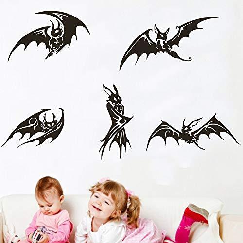 JJHR Wandtattoos Wandaufkleber Fünf Schwarze Fledermäuse Gruselig Wandbilder Nicht Nur Für Halloween Dekorative Tierkunst Home Stickers Wandbild 33 * 69Cm