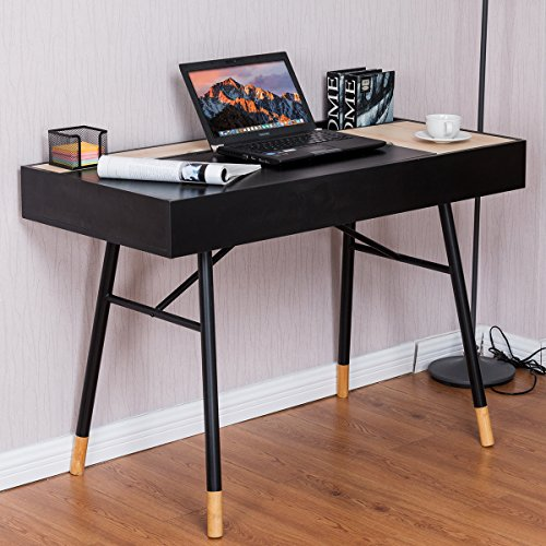 COSTWAY Large Computer Desk Office Writing Desk With Drawer Workstation Home Wooden Furniture (Black Wooden)