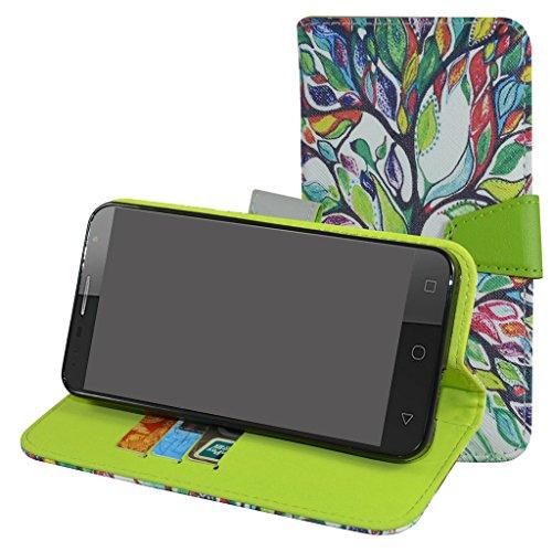 Alcatel Pop 4 Plus Custodia,Mama Mouth Portafoglio custodia in PU di cuoio pelle con supporto carte di credito in Piedi caso Case per Alcatel One Touch Pop 4 Plus Smartphone,Love Tree