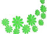 Hacoly 12 Wandaufkleber 3D Blumen Wandsticker Küche Glasfenster DIY selbstklebend Aufkleber Wandtattoo Esszimmer Wanddeko Ideal für die Dekoration Ihres Hauses - Grün