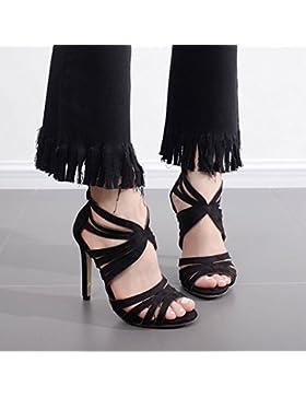 KHSKX-Zapatos De Ante Negro 8.5Cm Tras El Cierre Boca Hairtail Pez Cinto Zapatos De Tacon Alto Zapatos Impermeables...