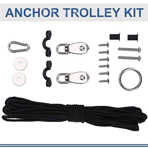 Kajak Anker Trolley Kit 10M Seile Anchor Zubehöre Riemenscheibe Karabiner für Kanus Boote -
