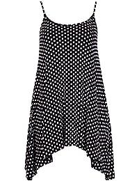 Damen Blumen Totenkopf-Aufdruck, Übergröße Damen TankTop Strappy Vest Swing Flare Short Mini-Kleid