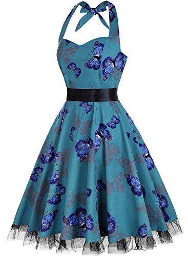 Damen Kleid OTEN 1950er Neckholder Vintage Retro Partykleider Festliche Rockabilly Kleid Cocktailkleid Schmetterling 2
