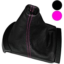 AERZETIX: Funda para palanca de cambios 100 % Piel Genuina negro Costuras de color rosa
