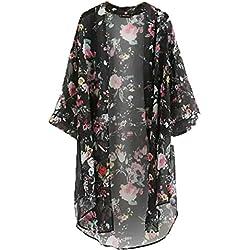 DJS Blusa Bohemia Quimono Camisa Larga Mujer 2018 Nuevas Camisas Impresas Floral Casual Blusas Femininas Blusas Cárdigan Kimono Vintage Más Talla
