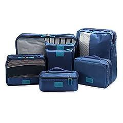 Idea Regalo - Packing Cubes Value Set for Travel & Home Storage, Set di Cubi da Imballaggio per Viaggio da U-MISS, in 7 pezzi Bagaglio essenziale da Viaggio, Organizzatore bagaglio Borsa a maniglia Set di borse (blu scuro)