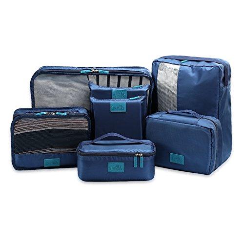 Wertvolles Pack-Würfel Set für Reisen von U-MISS, 7 Stk. Reise Beutel-in-Beutel für Notwendiges Reisegepäck Organisator Aufbewahrung Handgriff Beutel Tasche Satz (Dark Blue) (Cube Carry Case)