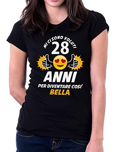 Tshirt Compleanno Mi ci sono voluti 28 anni per diventare così bella - eventi e ricorrenze - ideale come regalo di compleanno - in cotone Nero