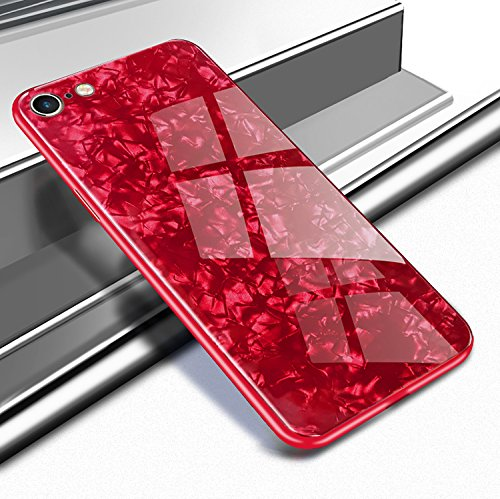 Yobby Glas Hülle für iPhone 7 Plus, iPhone 8 Plus Rot Handyhülle mit Luxus Kristall Funkeln Glitzer Muster Schlank Weich TPU Bumper Schutzhülle Reflektierend Glänzend Spiegel Rückseite