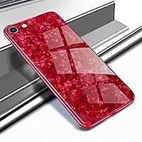 Yobby Glas Hülle für iPhone 6, iPhone 6S Rot Handyhülle mit Luxus Kristall Funkeln Glitzer Muster Schlank Weich TPU Bumper Schutzhülle Reflektierend Glänzend Spiegel Rückseite
