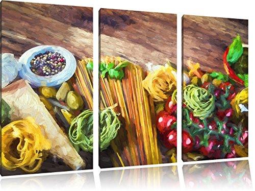 Spaghetti mit Gewürzen auf Tisch3-Teiler Leinwandbild 120x80 Bild auf Leinwand, XXL riesige Bilder fertig gerahmt mit Keilrahmen, Kunstdruck auf Wandbild mit Rahmen, gänstiger als Gemälde oder Ölbild, kein Poster oder Plakat
