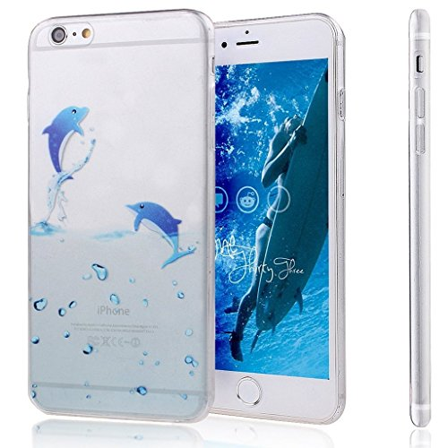 Für iPhone 4 4S Hülle Fall , IJIA Karikatur Blau Dichtung Weich TPU Case Durchsichtig Schutzhülle Silikon Crystal Transparent Cover Hülle für Apple iPhone 4 4S + 24K Gold Aufkleber