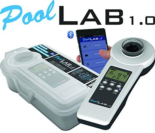 Pool Lab 1.0 Tragbarer Poolwassertester, Modell POL01, Weiß und Schwarz -
