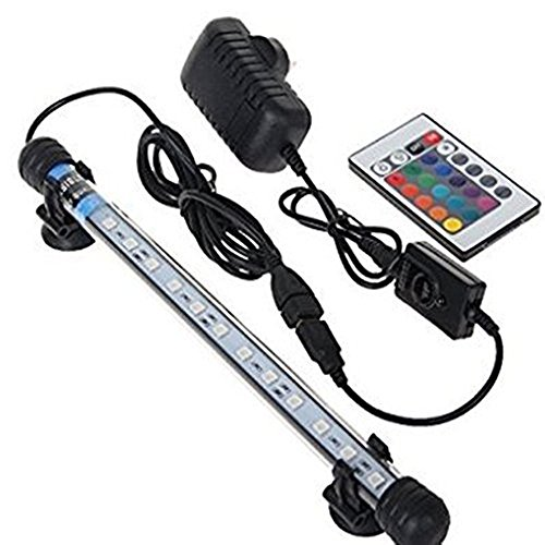 Asvert Lampe Tube Aquarium LED Etanche Luminaire Submersible 3 Couleurs avec Télécommande Eclairage Aquarium pour Poisson 38 x 1,8 cm, 4W
