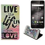 K-S-Trade Für Gigaset GS160 Schutz Hülle 360° Wallet Case ''live Life Love'' Schutzhülle Handy Tasche Handyhülle Etui Smartphone Flip Cover Standfunktion (1x)