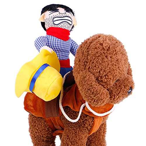 LAEMILIA Haustier Hund Jumpsuit Kostüm Pferd Cosplay Kleidung Outfit Cowboy Rider Style (S)