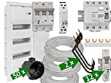 Elektroinstallations-Paket I, UP, 3-reihig, 300m Kabel, 50 Dosen, FI-/LS-Schalter...