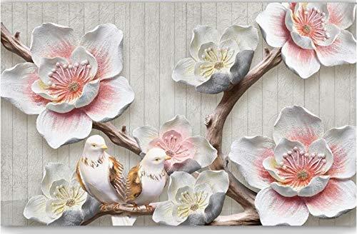 WH-PORP 3D Tapete chinesischen Stil Relief Plum Vogelelegante Tv 3D Hintergrund Wand-350cmX245cm