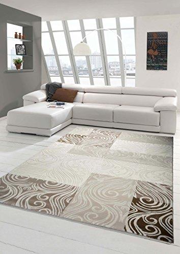 Designer Teppich Moderner Teppich Wohnzimmer Teppich mit Glitzergarn Wollteppich mit Karo Muster in Creme Braun Beige Größe 160x230 cm
