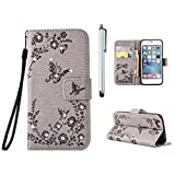MUTOUREN Custodia in Pelle in bookstyle- Samsung Galaxy S6 Premium PU Leather Cover Lusso color tatto Disegno Leather Portafoglio Case e Bling Diamond Cover Con Cinghia Magnetica Stand Folio Slim Fit Flip Wallet Protettiva Case Bella Ultra Sottile A Libro Antigraffio Bumper Case Cover e Bling Diamond butterflies and rose+ Stylus Pen Bling Bling grigio