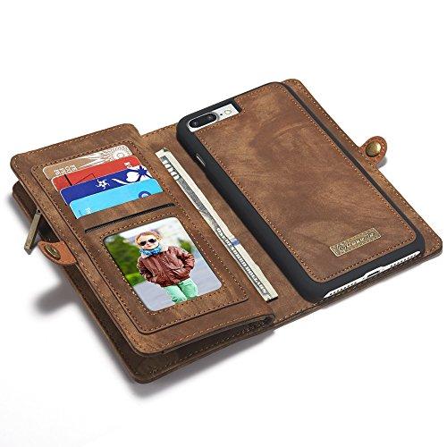 """SITCO iphone 7 plus 5.5"""" étui portefeuille en cuir flip avec porte-carte pour iphone 8 plus détachable couverture arrière zipper portefeuille étui avec aimant sac à main sac à main poche téléphone"""