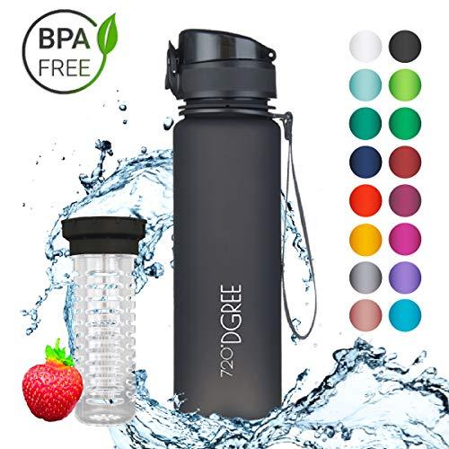 """720°DGREE Trinkflasche \""""uberBottle\"""" - 500 ml, 0,5 l, Schwarz - Neuartige Tritan Wasser-Flasche - Water Bottle BPA Frei - Ideale Sportflasche für Kinder, Fitness, Fahrrad, Sport, Fussball"""