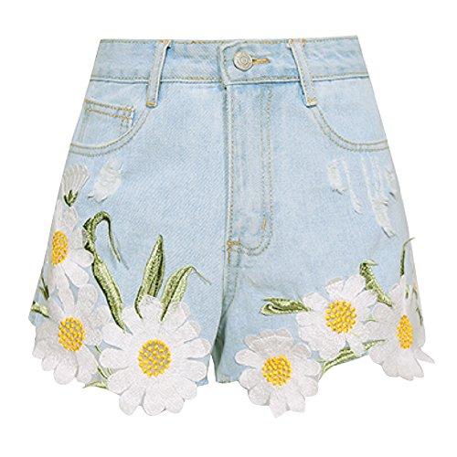 a4ad8475363244 iBaste Jeanshose Shorts Damen High Waist Denim Shorts Kurze Hose Hotpants  damen Jeans Hose Hell Blau