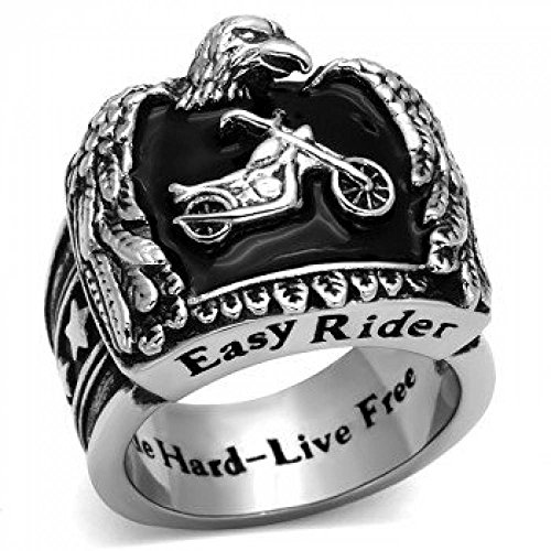 ISADY - Odilon - Biker - Herren-Ring - Edelstahl - Email schwarz «Ride Hard - Live Free» - T 62 (19.7)