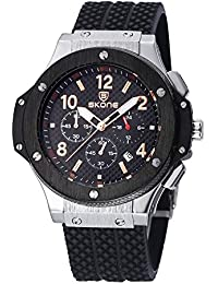 SKONE Quartz Mens Watch with Nail Number Scale and 3eye Function Dials Date Display (Black Silver Black)