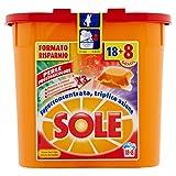 Sole Perle Proteggicolore, Detersivo per Lavatrice in Capsule Monodose, Capi Colorati, Triplice Azione, 26 Lavaggi
