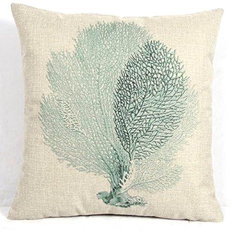 Blau Seaweed Überwurf Kissen Bezug Antique Home Dekorative Kissen Fall für Couch Maritimes Kopfkissenbezug 18x 18
