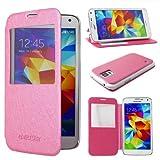 ebestStar - Cover Compatibile con Samsung S5 G900F, Galaxy S5 New G903F Neo Custodia Portafoglio con Finestra View, Protezione Libro Flip Pelle PU, Rosa [Apparecchio: 142 x 72.5 x 8.1mm, 5.1'']
