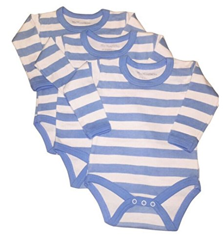 mini munchkin Rompers 6 Pack Blue Stripe Design Body Vests. Long Sleeve and Made From 100% Cotton
