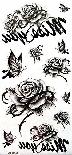 YiMei wasserdicht Aufkleber Tattoo Schwarz Blumen und Blüten Schmetterling