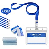 Gimars Waterproof Name Badge Holders with Lanyards and Nameplates/Conference Work Pass ID Card Holders for Business,Office and School,30 pcs Blue