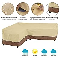 bottlewise Protective Corner Sofa Cover, Waterproof Garden Furniture Cover, Protective Cover Water Resistant, Anti-UV Dustproof for Outdoor Sofa Patio 264 x 210 x 78 cm, Beige (Right, Left)