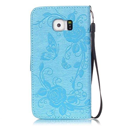 Boxtii® Coque et protection d'écran en verre trempé pour iPhone 6/iPhone 6S +, haute qualité, coque en cuir avec strass, coque en silicone, étui portefeuille à rabat style livre avec emplacements pour #5 Blue
