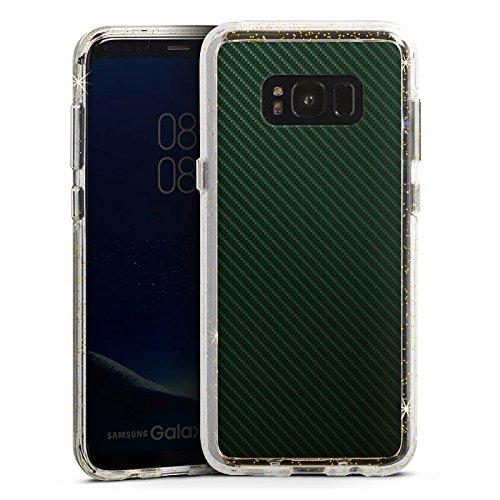 Stripe Carbon-rahmen (DeinDesign Samsung Galaxy S8 Bumper Hülle Bumper Case Glitzer Hülle Schwarz Black Stripes)
