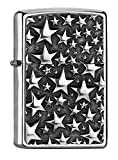 Zippo Stars Mechero de Gasolina, latón, Aspecto de Acero Inoxidable,...