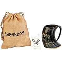 Viking Drinking Horn Mug – 20 Oz Handcrafted Ox Cup Goblet – Drink Mead & Beer Like Gods of Old With This Large Ale Stein – Great Craftsmanship And Gift Box - A Perfect Present For Real Men
